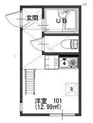 小田急江ノ島線 大和駅 徒歩12分の賃貸アパート 1階ワンルームの間取り
