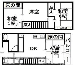 大阪府大阪市住吉区苅田6丁目の賃貸アパートの間取り