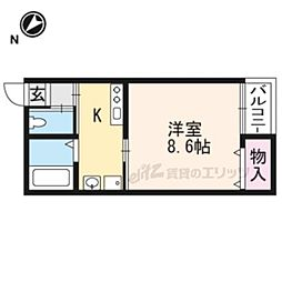 京阪本線 出町柳駅 徒歩7分の賃貸マンション 3階1Kの間取り