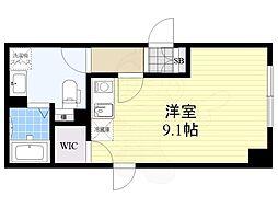 FABRIC菊川 1階ワンルームの間取り