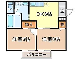 静岡県富士宮市若の宮町の賃貸アパートの間取り