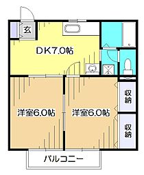 東京都東村山市廻田町3丁目の賃貸アパートの間取り