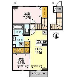 富山県富山市豊田本町の賃貸アパートの間取り