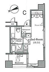 ザ・タワー芝浦 10階ワンルームの間取り