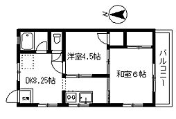 埼玉県所沢市こぶし町の賃貸アパートの間取り
