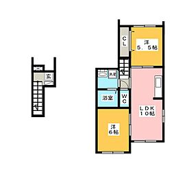 フラワー 1[2階]の間取り
