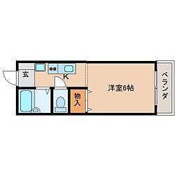 奈良県天理市田井庄町の賃貸アパートの間取り