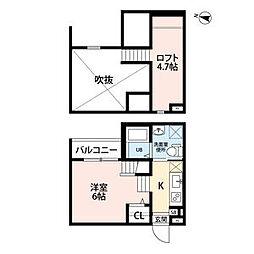 ココマンション 1階ワンルームの間取り