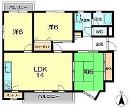 平城朱雀第一住宅[4階]の間取り