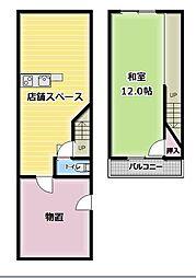 守口市金田町店舗付き戸建て 1階1LDKの間取り