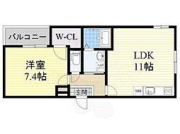 南海線 泉大津駅 徒歩10分の賃貸アパート 2階1LDKの間取り