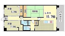 兵庫県神戸市北区大原3丁目の賃貸マンションの間取り