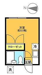 東京都世田谷区宮坂2丁目の賃貸アパートの間取り
