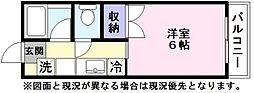 シャトー尾本 1階1Kの間取り