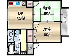 サンソレイユI[1階]の間取り