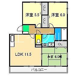ディアコート札場 A棟[3階]の間取り