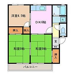 プレジール伊倉 B棟[2階]の間取り