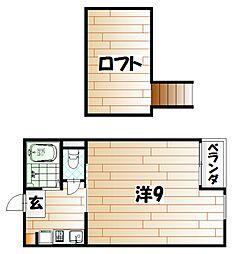 MOON下到津B[2階]の間取り