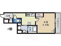 Osaka Metro御堂筋線 北花田駅 徒歩6分の賃貸マンション 5階1Kの間取り