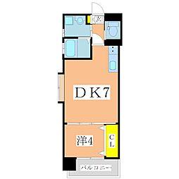 鹿児島市電2系統 加治屋町駅 徒歩9分の賃貸マンション 10階1DKの間取り
