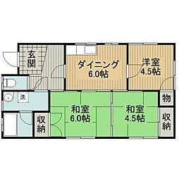 福岡県八女市納楚の賃貸アパートの間取り