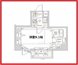 ノッツ浅草 8階1Kの間取り