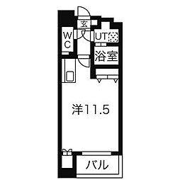 名鉄名古屋本線 名鉄名古屋駅 徒歩10分の賃貸マンション 6階ワンルームの間取り