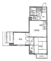 JR総武線 浅草橋駅 徒歩9分の賃貸マンション 5階2DKの間取り