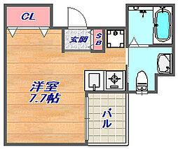レジデンスSAKURA 8階ワンルームの間取り