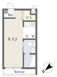 JR埼京線 南与野駅 バス15分 大泉院通り下車 徒歩5分の賃貸マンション 1階ワンルームの間取り