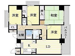 松屋レジデンス関目 13階3LDKの間取り