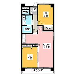 ミラリオ東島[3階]の間取り