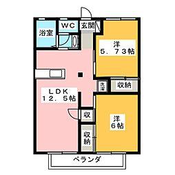 セジュールタヌマB[1階]の間取り