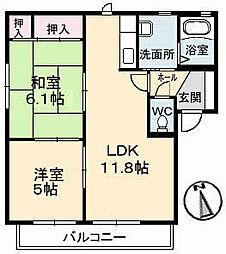 山口県下関市綾羅木新町1丁目の賃貸アパートの間取り