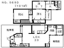 [一戸建] 大阪府大阪市阿倍野区王子町2丁目 の賃貸【/】の間取り