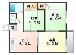エフシリーズ東富井 B棟[2階]の間取り