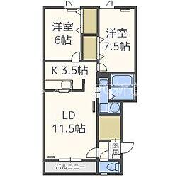北海道札幌市東区北四十五条東2丁目の賃貸アパートの間取り