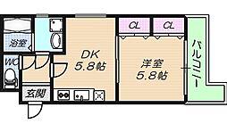 大阪府大阪市東成区中本3丁目の賃貸マンションの間取り