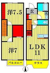 [テラスハウス] 東京都葛飾区新宿4丁目 の賃貸【東京都 / 葛飾区】の間取り