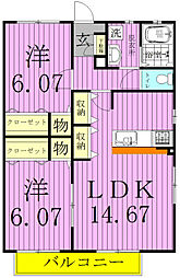 Garden house三郷C棟[1階]の間取り