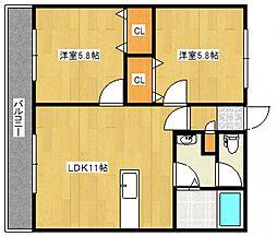 千本杉コーポ[3階]の間取り