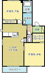 フィールドイン湯川 B棟[2階]の間取り