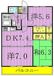 千葉県松戸市六高台4丁目の賃貸マンションの間取り