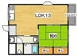 ハイツキタノ[2階]の間取り