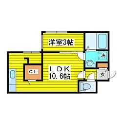 仮)北25東16新築 4階1LDKの間取り