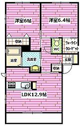 広島県広島市安芸区瀬野西3丁目の賃貸アパートの間取り
