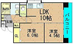 富士プラザII中央[2階]の間取り