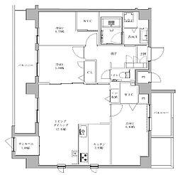 JR鹿児島本線 香椎駅 徒歩5分の賃貸マンション 6階3LDKの間取り