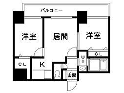 グレイスコート円山北 8階2LDKの間取り