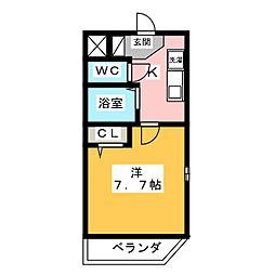MAISON BEAU 隅田II 2階1Kの間取り